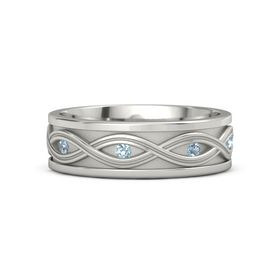 Men's Palladium Ring with Blue Topaz & Aquamarine