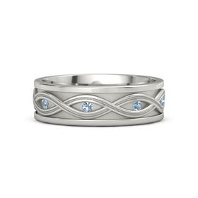 Men's Palladium Ring with Blue Topaz
