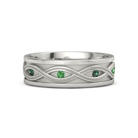 Men's Palladium Ring with Alexandrite & Emerald