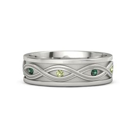 Men's Palladium Ring with Alexandrite & Peridot