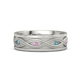 Platinum Ring with London Blue Topaz and Pink Sapphire