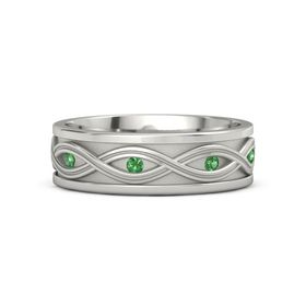 Men's Platinum Ring with Emerald