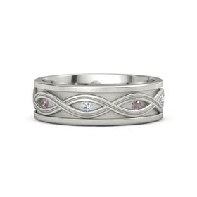 Platinum Ring with Rhodolite Garnet and Diamond
