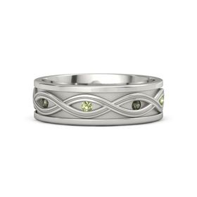 Platinum Ring with Green Tourmaline and Peridot