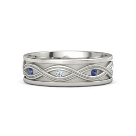 Men's Platinum Ring with Sapphire & Diamond