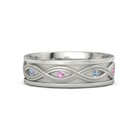 Platinum Ring with Blue Topaz and Pink Tourmaline