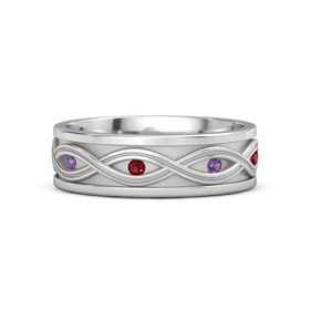 Sterling Silver Ring with Amethyst and Ruby