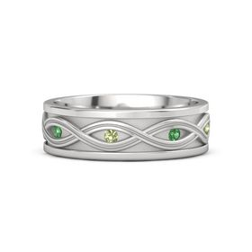 Men's Sterling Silver Ring with Emerald & Peridot