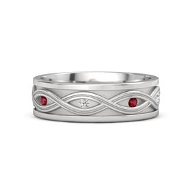 Men's Sterling Silver Ring with Ruby & White Sapphire