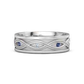 Sterling Silver Ring with Blue Sapphire and Diamond