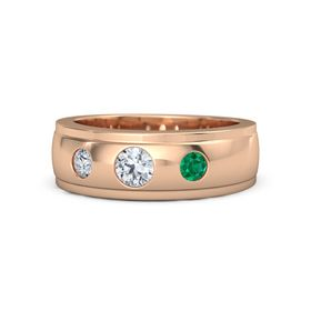 Round Diamond 14K Rose Gold Ring with Emerald and Diamond
