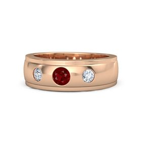Men's Round Ruby 14K Rose Gold Ring with Diamond