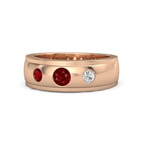 Round Ruby 14K Rose Gold Ring with White Sapphire and Ruby