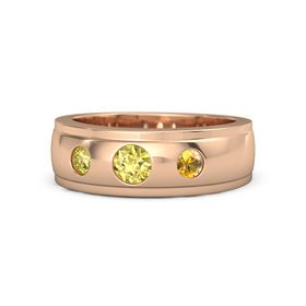 Round Yellow Sapphire 14K Rose Gold Ring with Citrine and Yellow Sapphire