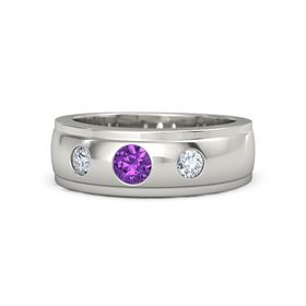 Men's Round Amethyst 14K White Gold Ring with Diamond