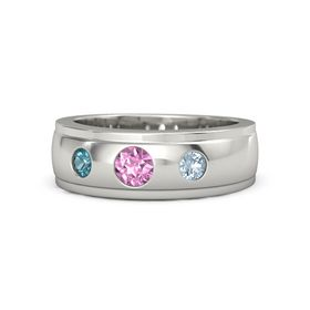 Round Pink Sapphire 14K White Gold Ring with Aquamarine and London Blue Topaz