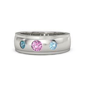 Round Pink Sapphire 14K White Gold Ring with Blue Topaz and London Blue Topaz