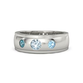Round Aquamarine 14K White Gold Ring with Blue Topaz and London Blue Topaz