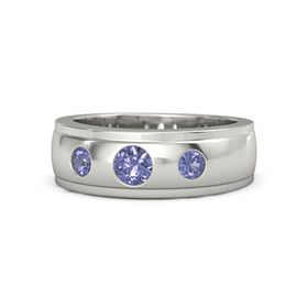 Men's Round Tanzanite 14K White Gold Ring with Tanzanite