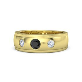 Men's Round Black Diamond 14K Yellow Gold Ring with Diamond