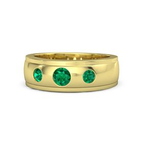 Men's Round Emerald 14K Yellow Gold Ring with Emerald