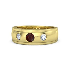 Men's Round Red Garnet 14K Yellow Gold Ring with Diamond