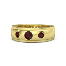 Men's Round Red Garnet 14K Yellow Gold Ring with Red Garnet