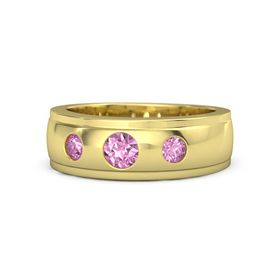 Round Pink Sapphire 14K Yellow Gold Ring with Pink Sapphire
