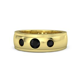 Men's Round Black Onyx 14K Yellow Gold Ring with Black Onyx