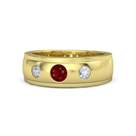 Men's Round Ruby 14K Yellow Gold Ring with Diamond