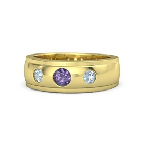 Round Iolite 14K Yellow Gold Ring with Aquamarine