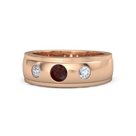 Men's Round Red Garnet 18K Rose Gold Ring with Diamond