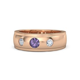 Men's Round Iolite 18K Rose Gold Ring with Diamond