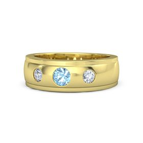 Men's Round Blue Topaz 18K Yellow Gold Ring with Diamond