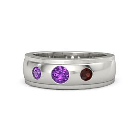 Round Amethyst Palladium Ring with Red Garnet and Amethyst