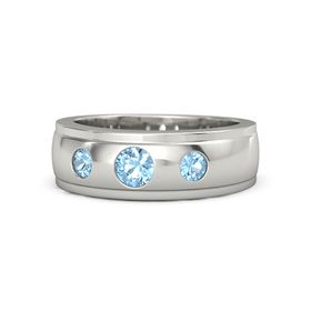 Men's Round Blue Topaz Palladium Ring with Blue Topaz
