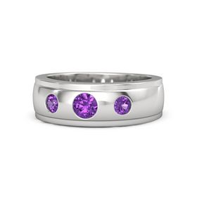 Men's Round Amethyst Sterling Silver Ring with Amethyst