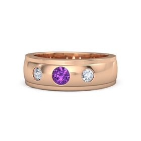 Men's Round Amethyst 14K Rose Gold Ring with Diamond