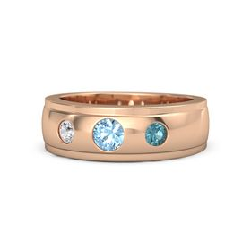 Men's Round Blue Topaz 14K Rose Gold Ring with London Blue Topaz & White Sapphire