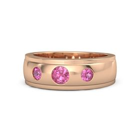 Men's Round Pink Tourmaline 14K Rose Gold Ring with Pink Tourmaline