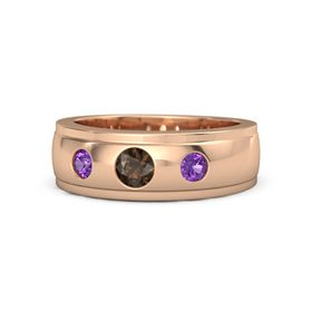 Men's Round Smoky Quartz 14K Rose Gold Ring with Amethyst