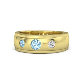 Round Blue Topaz 14K Yellow Gold Ring with White Sapphire and Blue Topaz