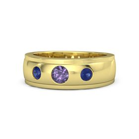 Men's Round Iolite 14K Yellow Gold Ring with Sapphire