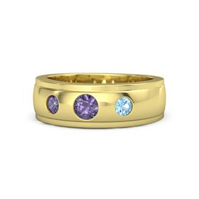 Round Iolite 14K Yellow Gold Ring with Blue Topaz and Iolite