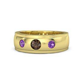 Men's Round Smoky Quartz 14K Yellow Gold Ring with Amethyst