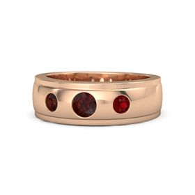 Round Red Garnet 18K Rose Gold Ring with Ruby and Red Garnet