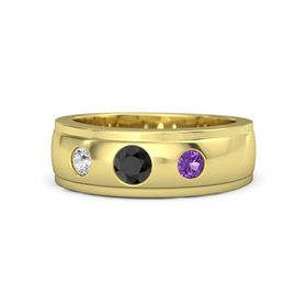 Round Black Diamond 18K Yellow Gold Ring with Amethyst and White Sapphire