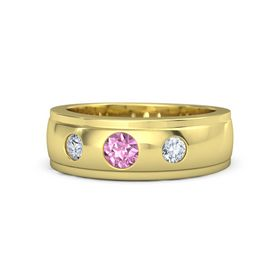 Men's Round Pink Sapphire 18K Yellow Gold Ring with Diamond