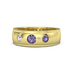 Men's Round Iolite 18K Yellow Gold Ring with Iolite & White Sapphire
