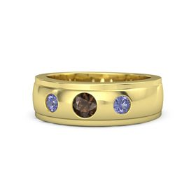 Round Smoky Quartz 18K Yellow Gold Ring with Tanzanite